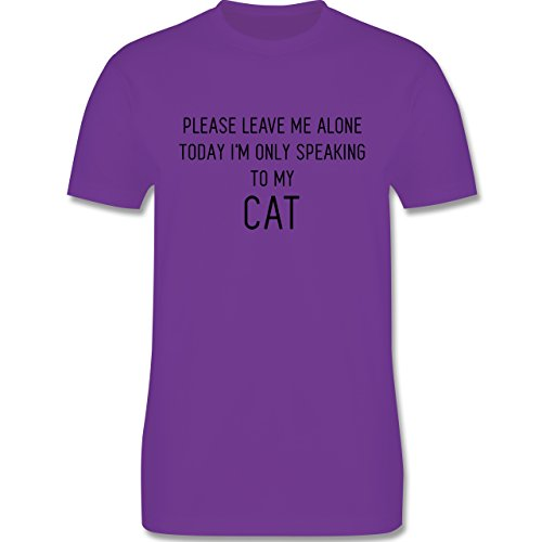 Statement Shirts - Please leave me alone, today I'm only speaking to my cat - Herren Premium T-Shirt Lila