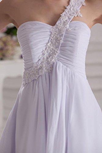 GEORGE BRIDE Eine Schulter Chiffon Kurz Abendkleid Weiß