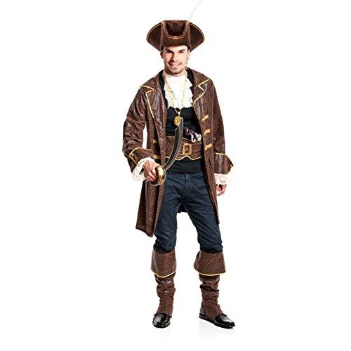 Erwachsene Pirat Braun Kostüme Stiefelstulpen (Kostümplanet® Piraten-Kostüm Herren Kostüm Pirat Größe)