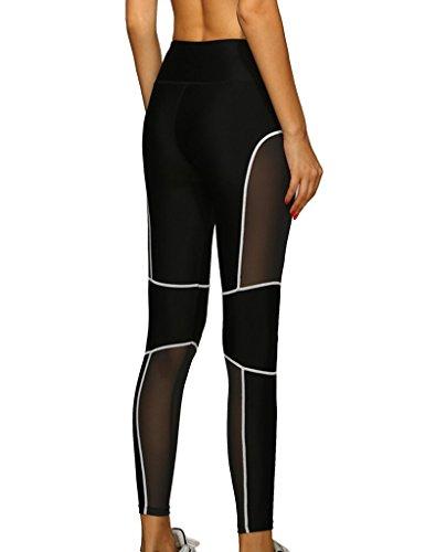lorata femmes Femme Stitching réseau fil Sport Pantalon de Jogging Yoga Pantalon de Jogging Collants Pantalons Leggings Blanc - Blanc/Noir
