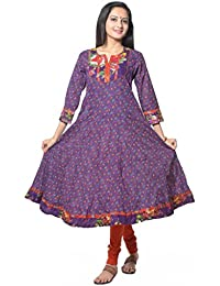 Purple Paisely Printed Cotton Anarkali Kurti