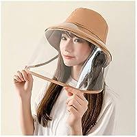 Fengdp Sombra Antivaho del Sombrero de Paja Unisex del Verano Anti-Saliva del Sombrero del Cubo Grande de los Aleros de protección Transparente TPU extraíble Pescador del Sol del Sombrero niña