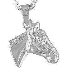 1c245c13a2bb Alylosilver Collar Colgante Cabeza de Caballo de Plata para Mujer - Incluye  Cadena de Plata de