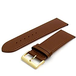 Comfortable Flexible Leather Watch Strap Band Buffalo grain 28mm Width Brown with Gilt (Gold Colour) Buckle R614g
