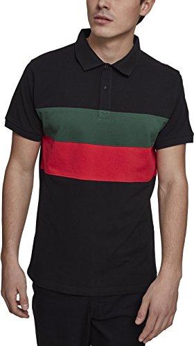 Urban Classics Herren Pullover Color Block Panel Poloshirt, Schwarz (Black/Green/Fire Red  Preisvergleich