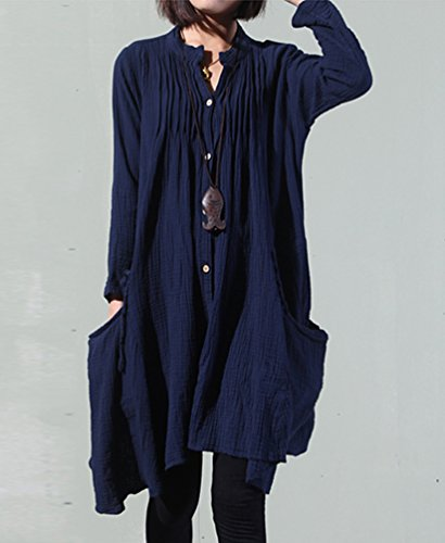NiSeng Donna Abito Camicia Lunga Casuale Loose Irregolare Lino Vestito Marina
