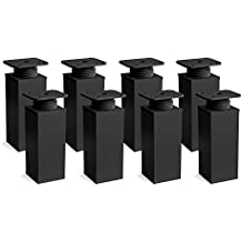 Patas para muebles, 8 piezas, altura regulable | Perfil cuadrado: 40 x 40 mm | Sossai® MFV1-BM | Diseño: Negro Mate | Altura: 120mm (+20mm) | Material: Aluminio | Tornillos incluidos