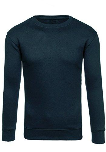 BOLF Herren Pullover Sweatshirts Langarmshirt Rundhals MIX Basic Dunkelblau_BO01