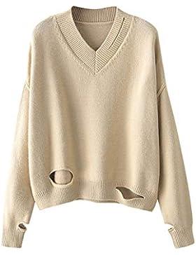 Suéter de Mujer Invierno,suéter Mujer Manga Larga Suéter de Jersey de Punto Casual para Mujer Top de con Cuello...