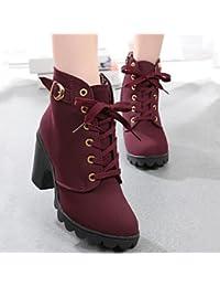 Zapatos de mujer brida Leisure–Ovillo de talón y punta redonda botas/comodidad botas vestido/casual, amarillo, us5.5 / eu36 / uk3.5 / cn35