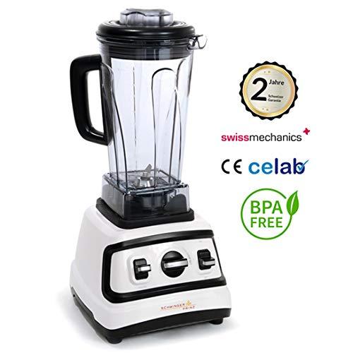 Schwingerprinz Hochleistungs Mixer, Kaffeemühle, Eiscrusher, Smoothiemaker 31000 u/min, 1390W + Behälter + Stössel