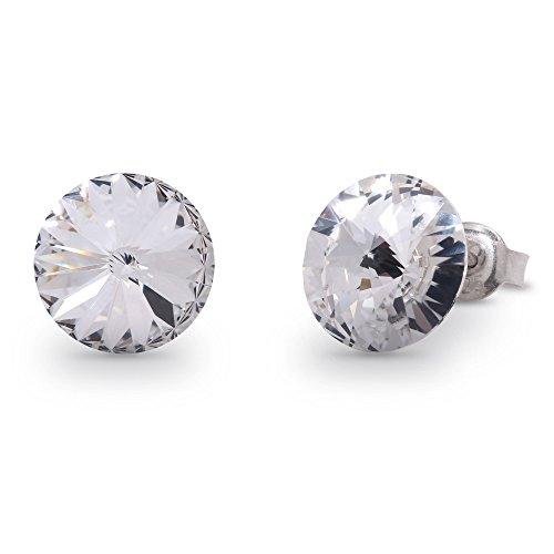 Swarovski Elements Damen Ohrring Ohrstecker Sterling Silber 925, Swarovski Kristall 11 mm rund weiss (Runde Swarovski-kristallen)