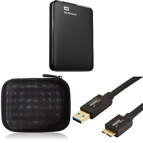 Set Western Digital 2TB Elements tragbare externe Festplatte mit AmazonBasics Festplattentasche und AmazonBasics