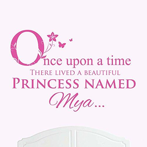 Une Belle Princesse nommé Mya de lit Once upon a time Sticker mural en vinyle Art Chambre Fille/bébé