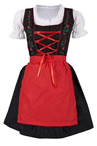 MS-Trachten 3 teiliges Kinder Dirndl Trachtenkleid Steffi (152, rot)