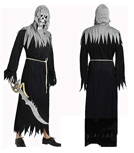TIANMIAOTIAN Halloween Steampunk Gothic Kostüm Magic Teufelchen Cosplay Samara Horror Film Set Kleid Perücke Onesies Maske Gürtel (Royal Vampir Für Erwachsene Kostüm Herren)