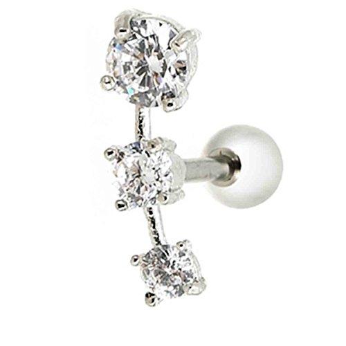Piersando Tragus Helix Ohr Piercing Cartilage Knorpel Stab Stecker 316 L Chirurgenstahl mit 3 Kristallen Clear