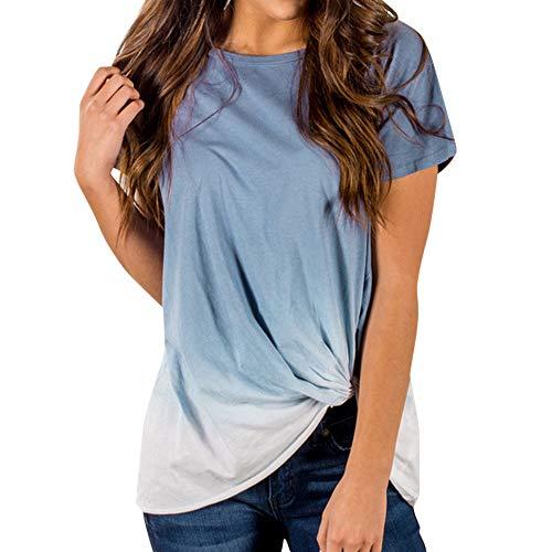 59a6105b2967 TOPKEAL Camisas Mujer Manga Corta Damas De Color Degradado Anudada El  Verano Blusas Mujeres Tops Camisetas