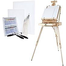 Artina XXL Madrid - Set de pintura - Caballete de pintura maletín de madera de pino, óleos, lienzos, pinceles etc.