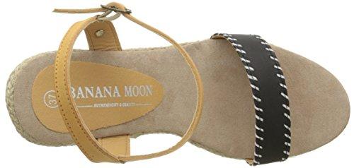 Banana Moon - Cortina 3, Sandalo Zeppa Donna Noir (Sho01)