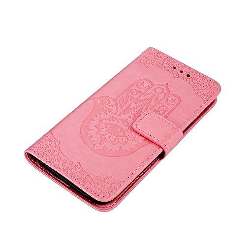 EKINHUI Case Cover Geprägte Palmen-Blumenmuster Retro PU-Leder-Mappen-Beutel-Kasten-Abdeckung mit Kartenschlitzen und Abzuglinie für Samsung-Galaxie J5 (2017) Europäische Ausgabe ( Color : Rosegold ) Pink