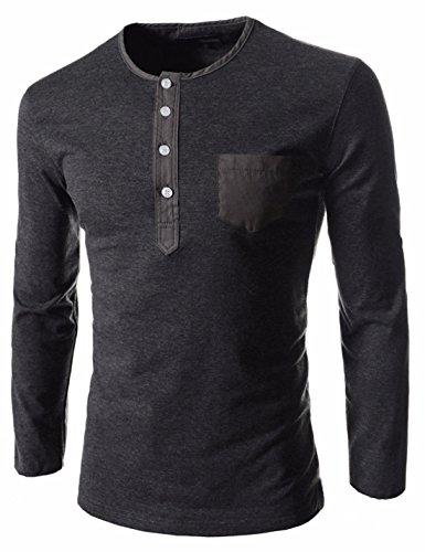 Men's Buttons O-neck Long Sleeve Cotton Casual Homme Tee Shirt gray