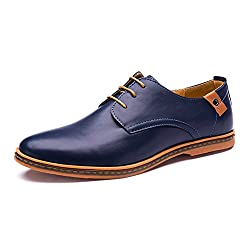 This item has 3 classic color for you choose,black,brown and blue.Pick from our classic colors for an elegant look at any even with thesedress shoes! Featuring Faux Leather upper, classic lace up design forsecure hold, classic toe design, lat...