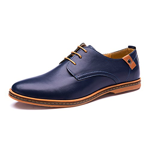 Tribangke Men's Business Casual Lace up Oxford Shoes Blue UK 8.5