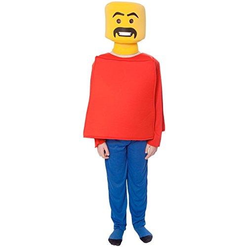 M - Lustiges Mr. Block Kopf Kostüm, 119-136 cm, Größe M (Kinder Morphsuit Gelb)