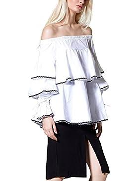 Simplee Apparel Tiered Ruffle algodón mujer camiseta top de la blusa blanca manga hombro volante