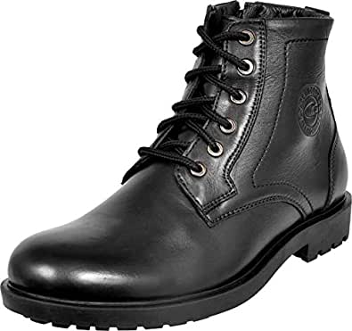 Allen Cooper ACCS-824 High Ankle Genuine Leather Boots for Men (7, Black)