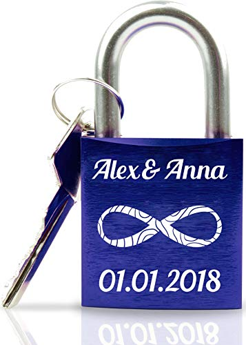Geschenkfreude ABUS personalisiertes Liebesschloss mit Gravur und Schlüssel wahlweise mit Geschenkverpackung/Liebesschloss Gravur/ideales Hochzeitsgeschenk/Herzschloss dunkelblau