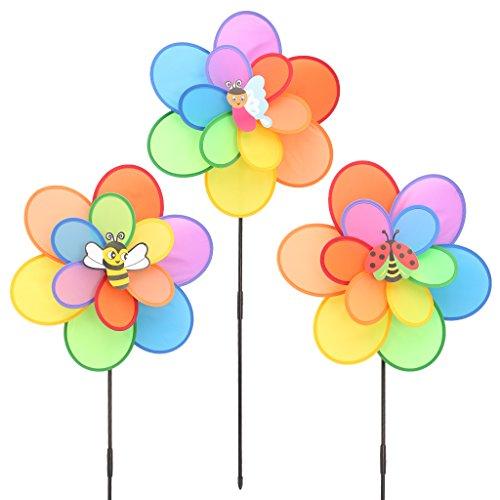 Fogun Windmühle, Größere Doppelschicht Insekt Windmühle Wind Spinner Kinder Spielzeug Yard Garten Dekoration | Garten > Dekoration > Windmühlen | Fogun