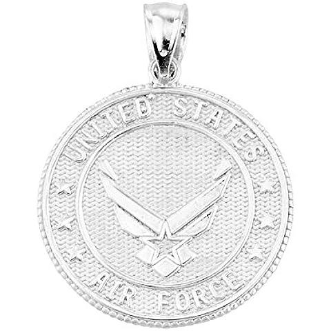 Fuerza Aérea de los Estados Unidos de plata Pieza terminal moneda Colgante collar (Libro Con Cadena 45cm)