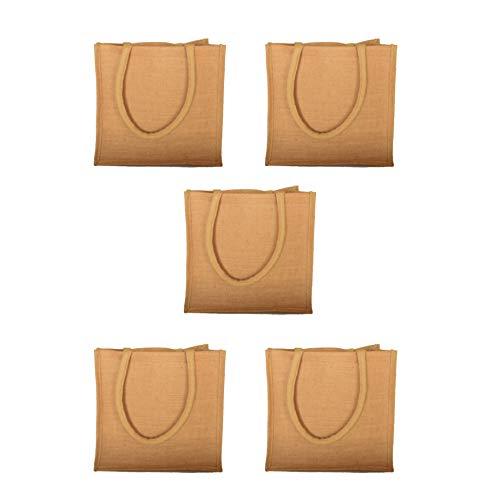 """Lot de 5 sacs en toile de jute naturelle réutilisables avec soufflet, naturel, S: 9"""" x 11"""" x 4"""""""