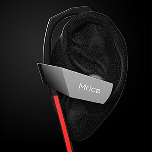 Plugetch Mrice S1 Bluetooth Headset - Wireless Sports Headphones with Mic || Connects 2 Device || Sweatproof Earbuds, Best for Running,Gym || Noise Cancellation || Stereo Sound Quality || Compatible with Iphones, IPads, Samsung and other Android Devices (Red/Black)