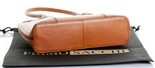 Cuoio lucido liscio italiano classico stile borsetta Tote Grab Bag o borsa a tracolla.Include una custodia protettiva marca Tan