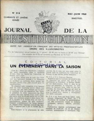 JOURNAL DE LA PRESTIDIGITATION [No 214] du 01/05/1960 - EVENEMENT DANS LA SAISON - DINIER AUX CHANDELLES. par Collectif