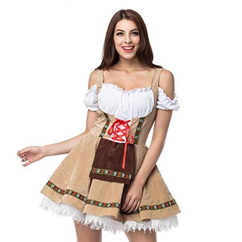 Kostüm Bayerische Dress - TIFIY Damen Oktoberfest Magd Outfit Frauen Vintage Beer Festival Bayerische Kurzarm Kellnerin Cosplay Kostüm Kleid Sexy Interessant Kleid(Gelb,XXL)