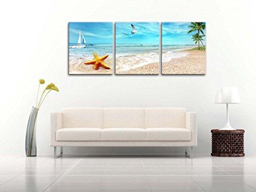Stampa su tela Wall Art Picture Seascape di Sandy Beach palme Golden Starfish Sea Gull vela barca blu mare 3pezzi dipinti Modern Giclee incorniciato opera Seascape immagini foto stampe