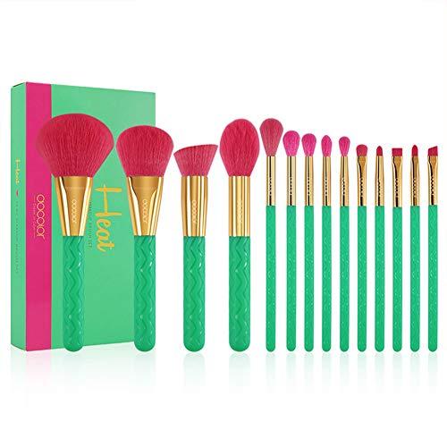 SJTL Makeup Pinsel Set Grün 14pcs Faser Weiche Elastizität Einschließlich Mischpinsel Lippenbürste Konturbürste Lidschatten Pinsel Foundation Brush usw Borsten mit Hoher Dichte -