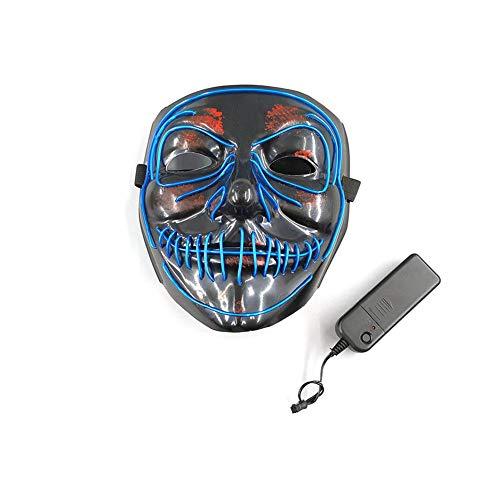 Inciple NMSLA Halloween Maske LED Leuchtmaske Für Festival Cosplay Halloween Kostüm (Rot/Dunkelblau) Upgrade