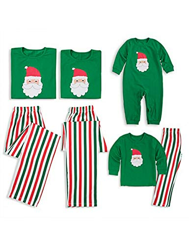 BESBOMIG Familia de Navidad Personalizada Pjs Papá Noel Patrón de Rayas Conjunto de Pijama a Juego, Vacaciones Mamá Papá Bebé Niño