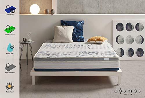 COSMOS Matelas Sporty - Mousse de Support HR Active Latex - Memoire de Forme Visco Gel - Graphitex - 25 cm - 80 x 200 cm