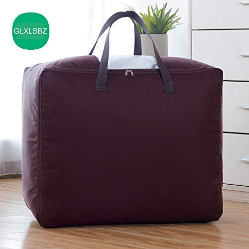 GLXLSBZ Aufbewahrungstaschen mit Reißverschlüssen Medium, Duvet Storage Bag Große Aufbewahrungstaschen für Kleidung, Bettzeug, Steppdecke, Decken, Umzug, Chocolate, 60 * 50 * 28cm -