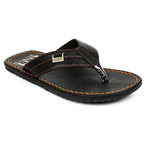 Buwch Mens And Boys Synthetic Leather Comfortable Lightweight Black Slipper  available at amazon for Rs.299