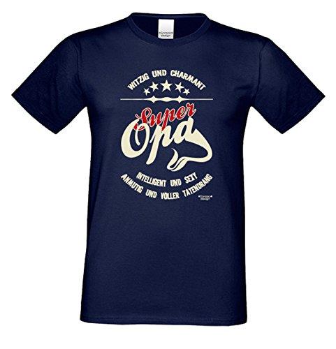 Herren T-Shirt Vatertagsgeschenk Geburtstagsgeschenk :-: Geschenkidee Männer Papa Opa :-: Bester Opa der Welt auch in Übergrößen blau-11