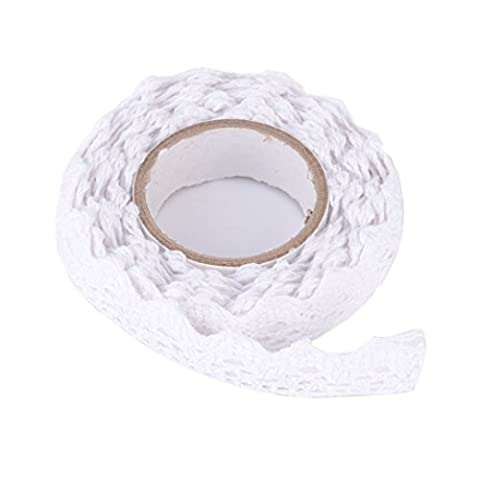 DIY Self Adhesive Lace Washi Tape Trim Ribbon Cotton Fabric Tape Decor Craft (White)