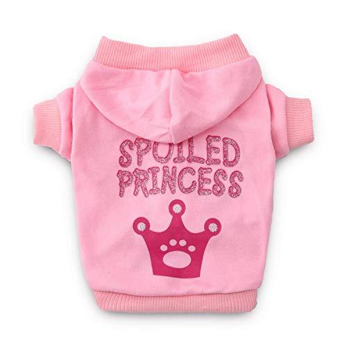 DroolingDog Camisas de Princesa para Perro, Ropa para Perro, Sudadera con Capucha para Perros pequeños Rosa Rosa Large (8.8-13.2lb)