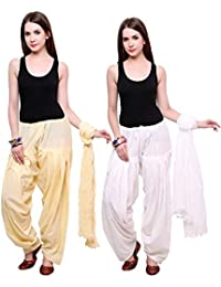 Fashion Store Women Cotton Patiala Salwar With Dupatta Combo Of 2 (Free Size, Light Pink & Skin)